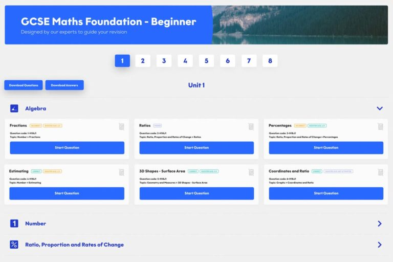 GCSE Maths Foundation tuition dashboard